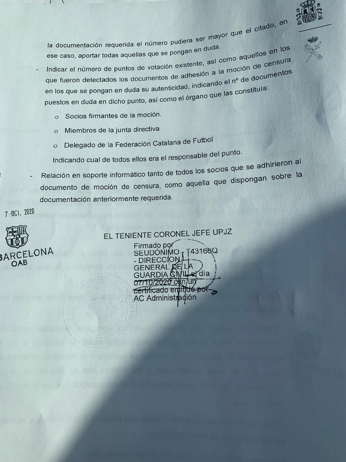 Segona pàgina de l'escrit de Daniel Baena, responsable de la Unitat de Policia Judicial de Barcelona, al Barça
