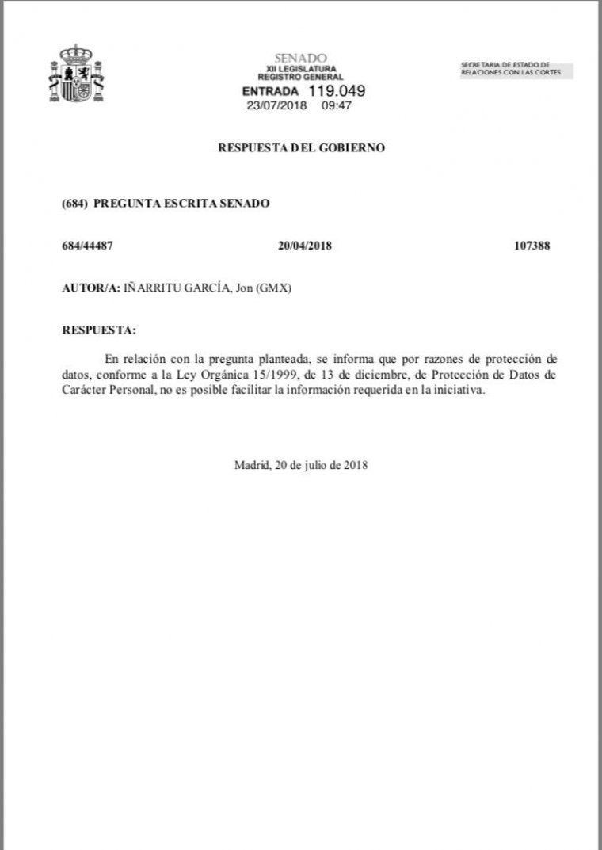 La resposta del govern espanyol