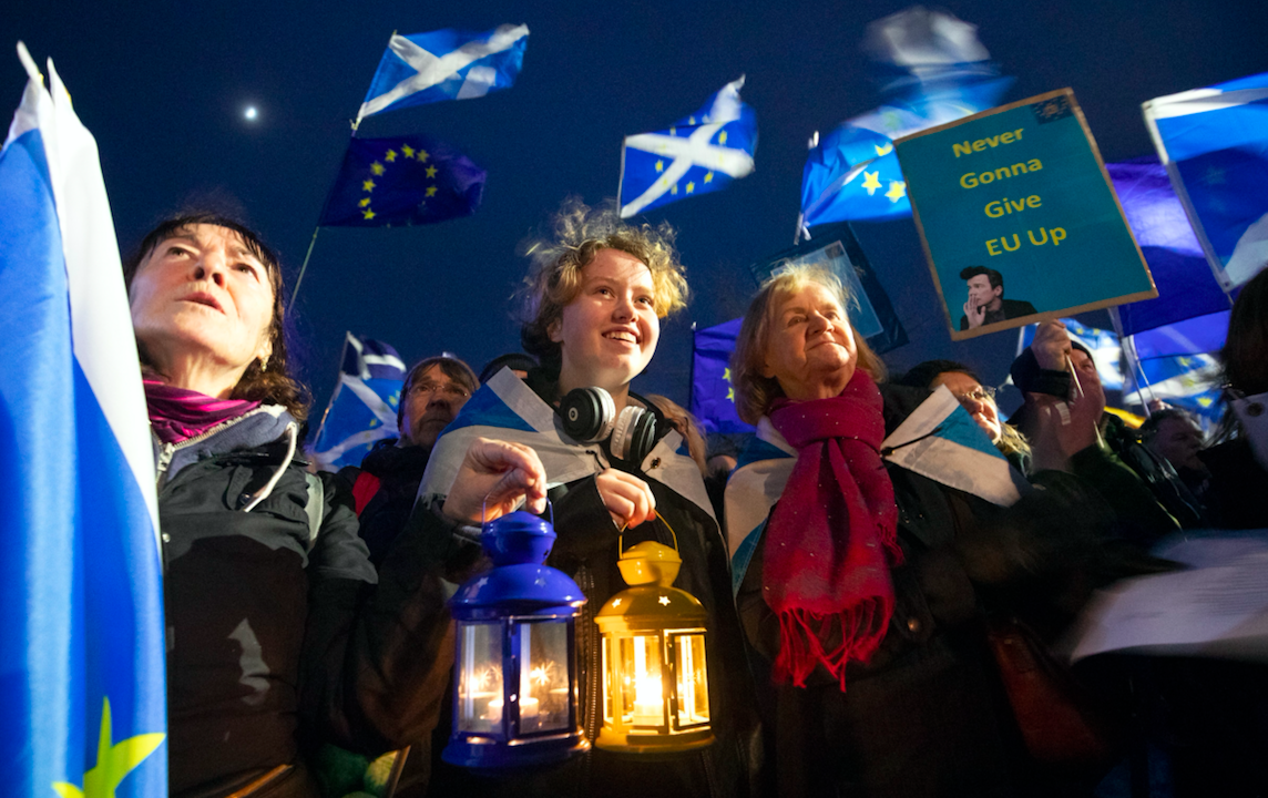 Manifestants a favor de la UE a Escòcia (EP)