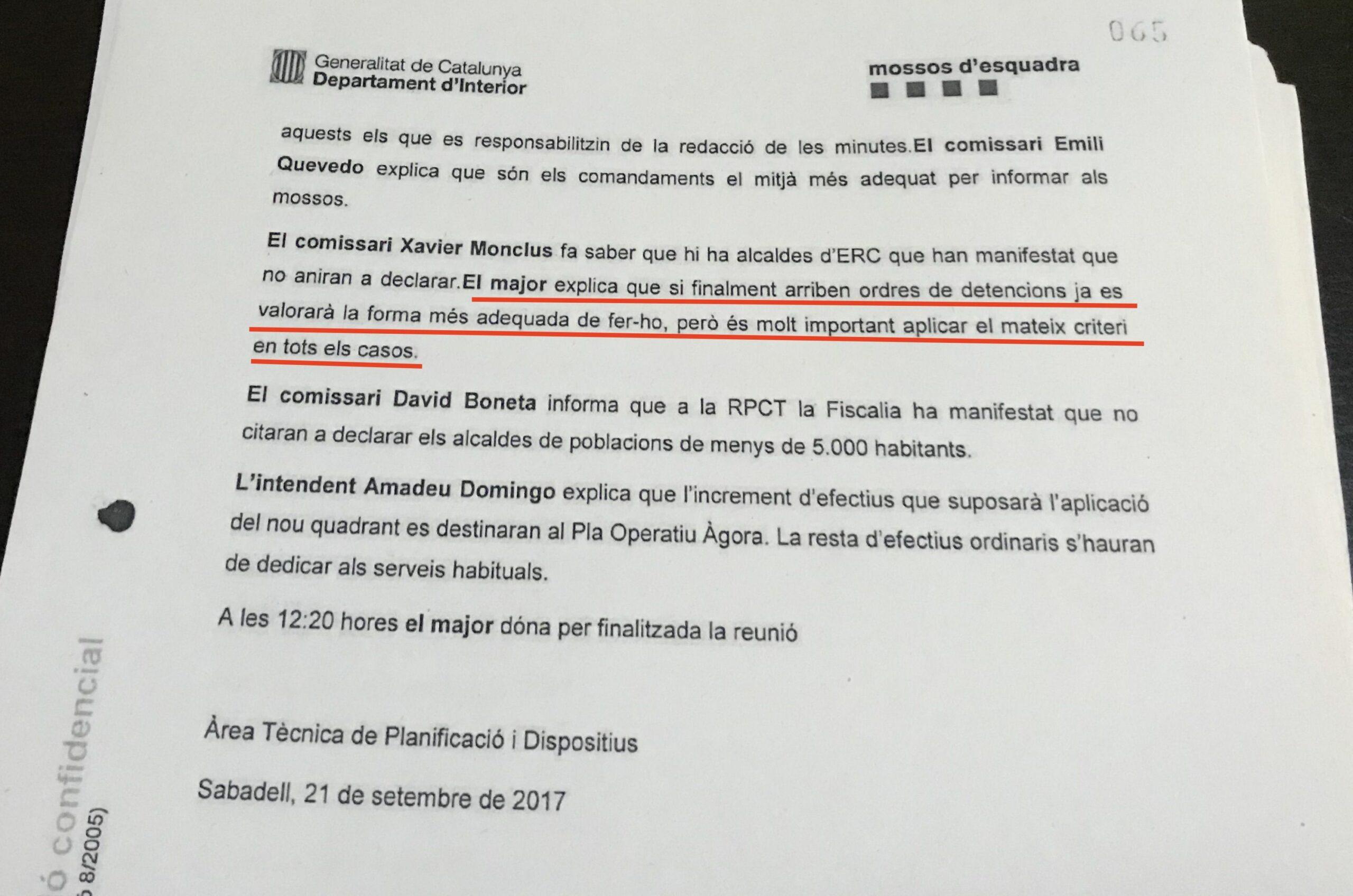 L'acta on queda pal·lès que tenien previst detenir alcaldes