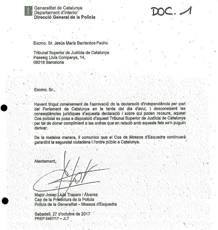 La carta remesa per Trapero a Barrientos enviada amb els mails de Gàmez