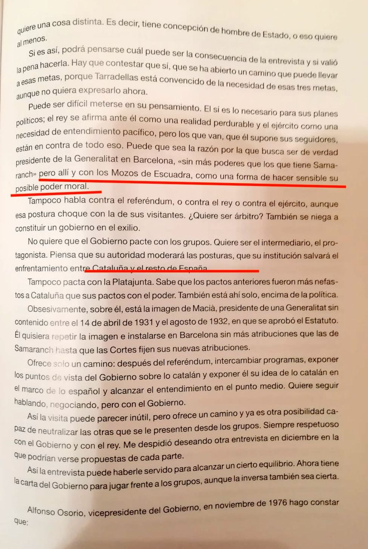 Part de l'informe Ossorio basat en Cassinello reproduit per Santacana al llibre Tarradellas L'exili 2, de Dau Edicions