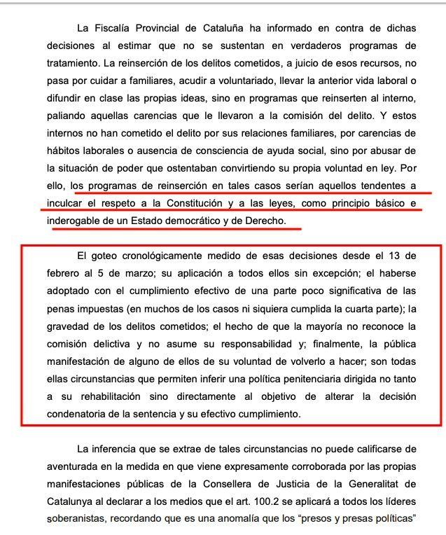 Part de l'informe de Fiscalia sobre el 100.2 davant el Tribunal Suprem