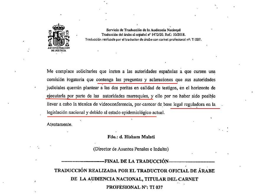 Part de la comunicació de la Direcció General de Seguretat del Marroc a l'Audiència Nacional sobre l'ADN de l'imam