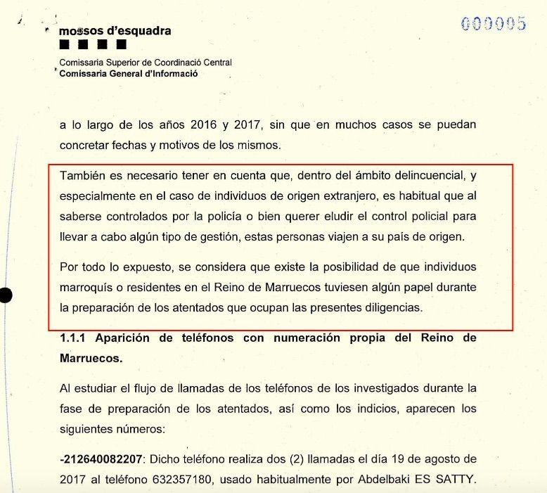 Part de l'informe dels Mossos sobre la pista marroquina de la cèl·lula de Ripoll pel 17A