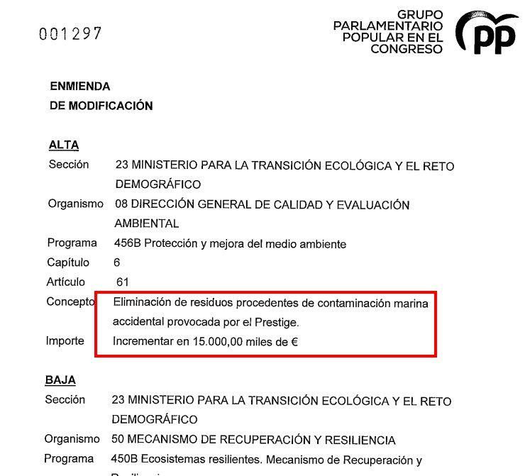 L'esmena del PP amb què reclama 15 milions pel desastre del Prestige