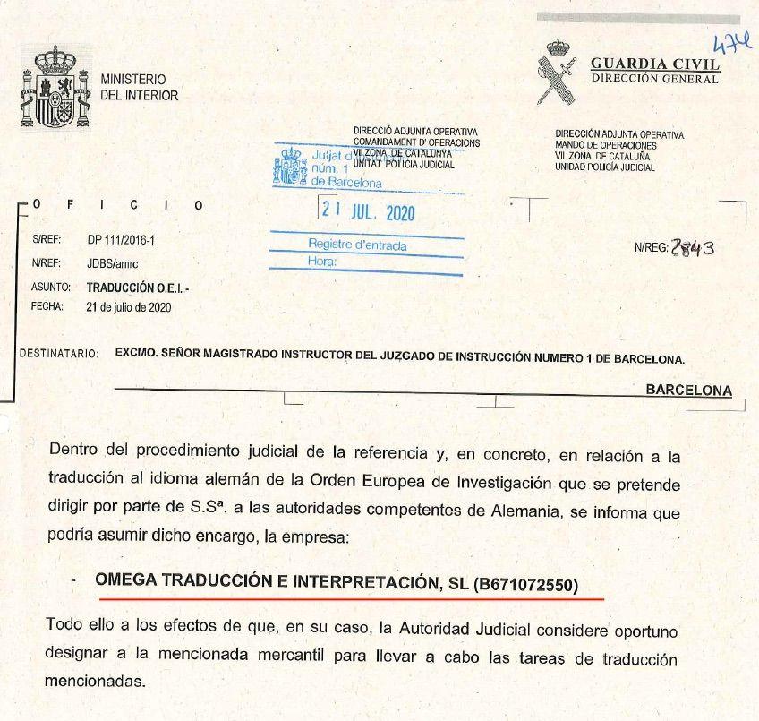 La proposta de la Guàrdia Civil que va acceptar el jutge el mateix dia