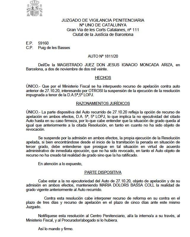 La interlocutòria de Bassa on tomba la petició del Fiscal