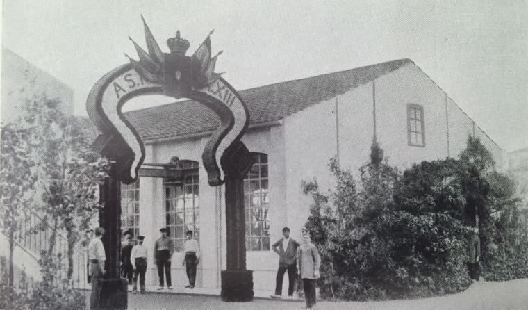 Un arc de triomf tèxtil per la visita d'Alfons XIII a Terrassa