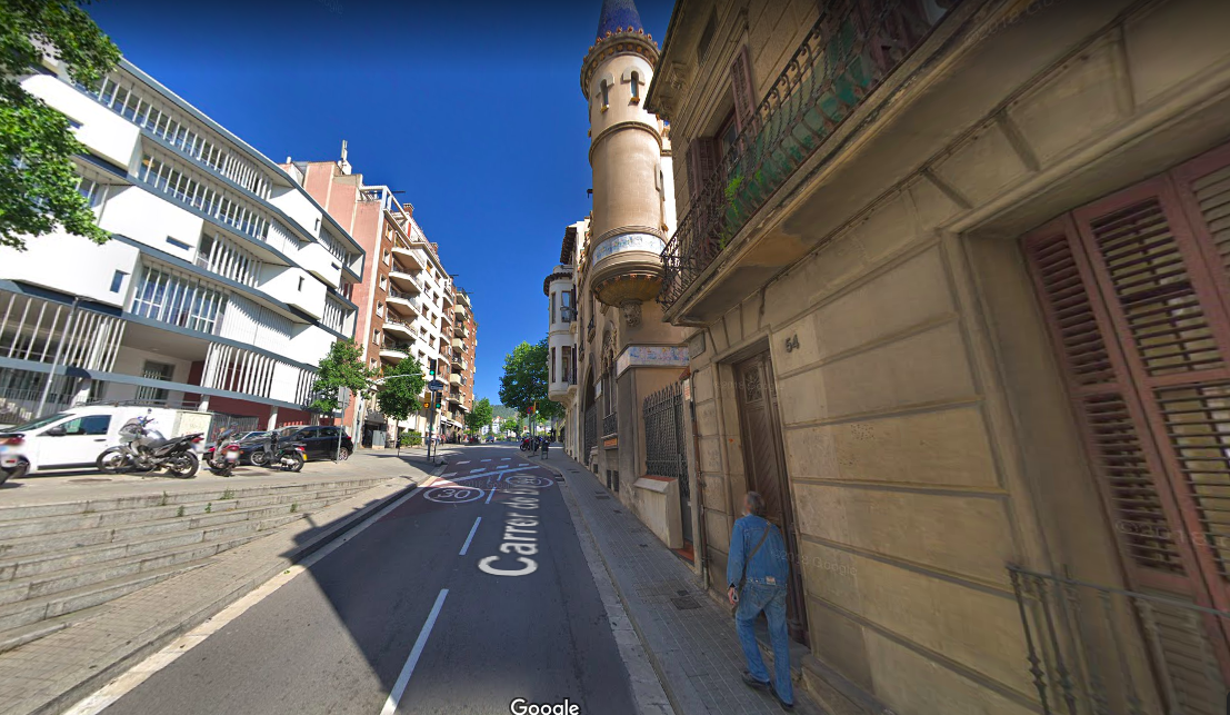 La zona de Vallcarca on s'ha produït un accident mortal de moto, al carrer Bolívar / Google Street View