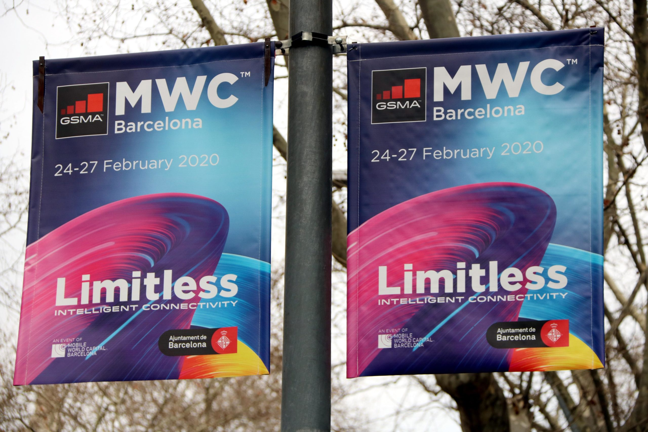 Publicitat del Mobile World Congress (MWC) 2020 a la Gran Via / ACN