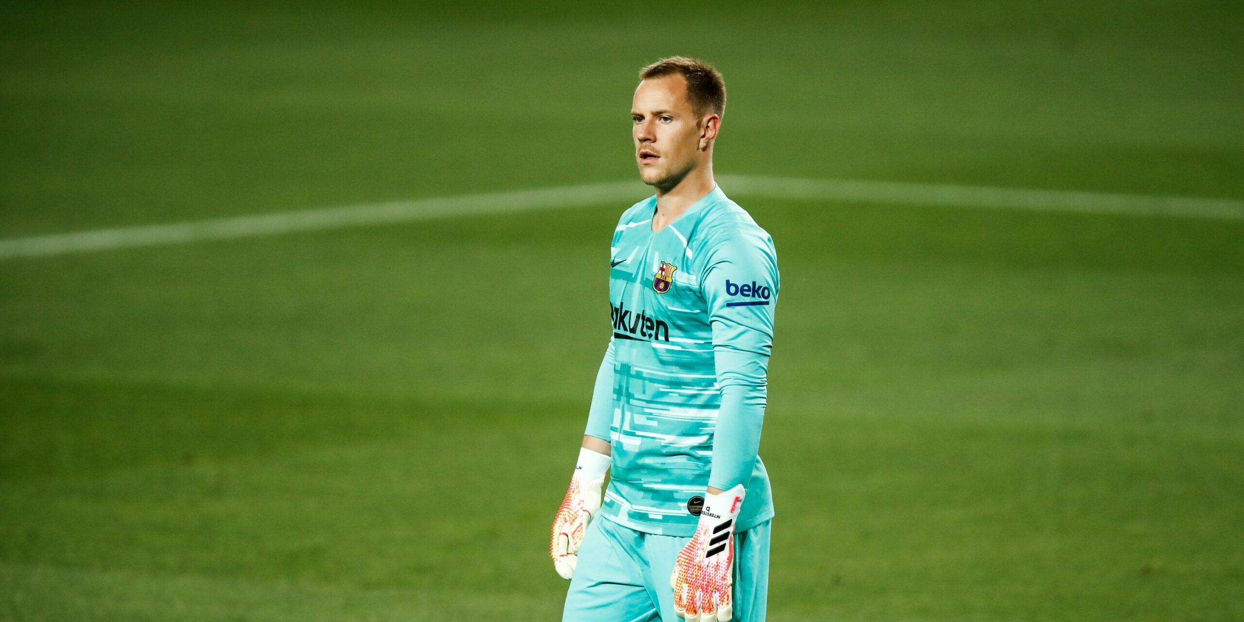Ter Stegen, durant el partit contra l'Espanyol |Europa Press