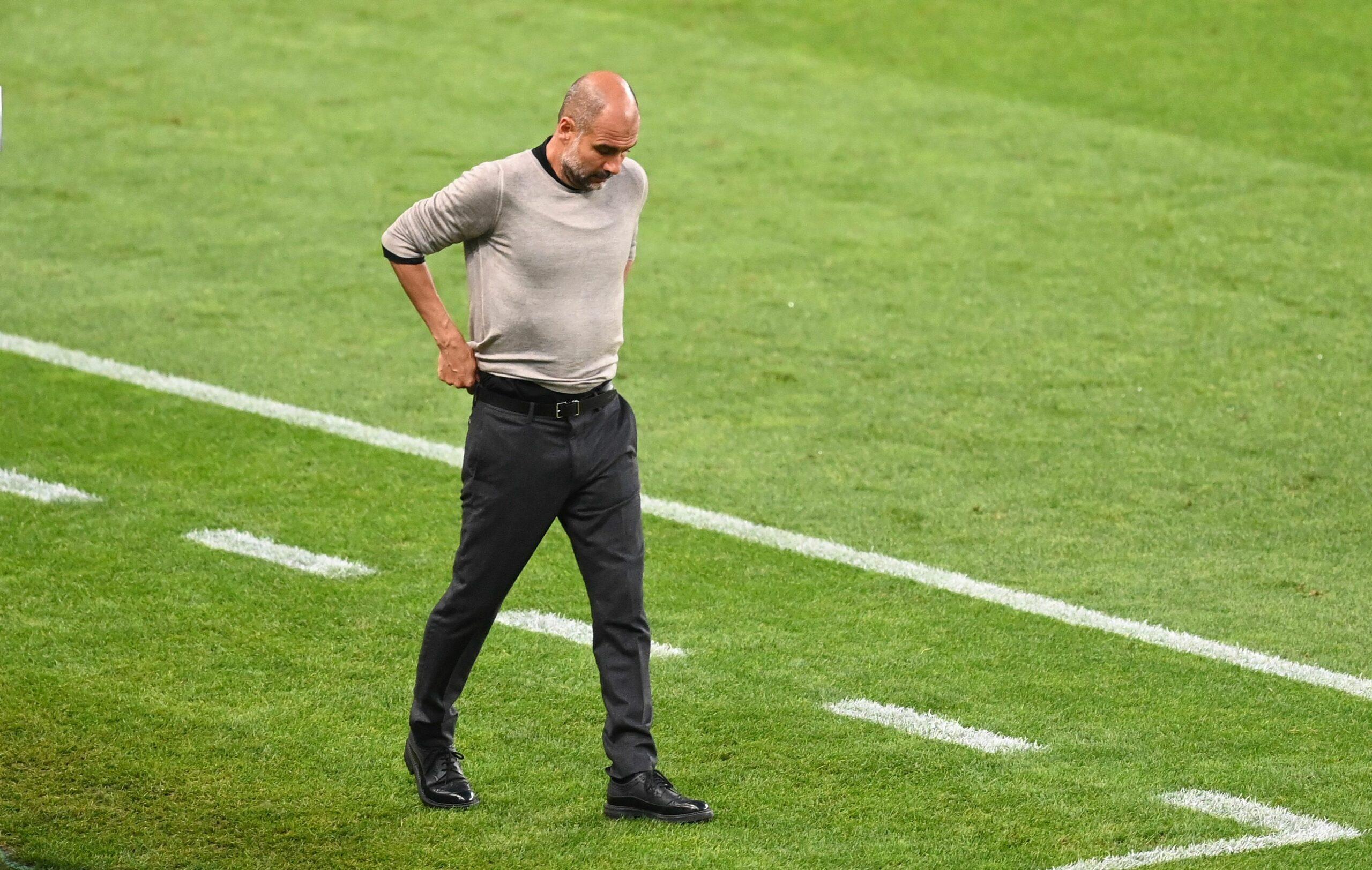 Guardiola, durant el partit contra el Lió | Europa Press