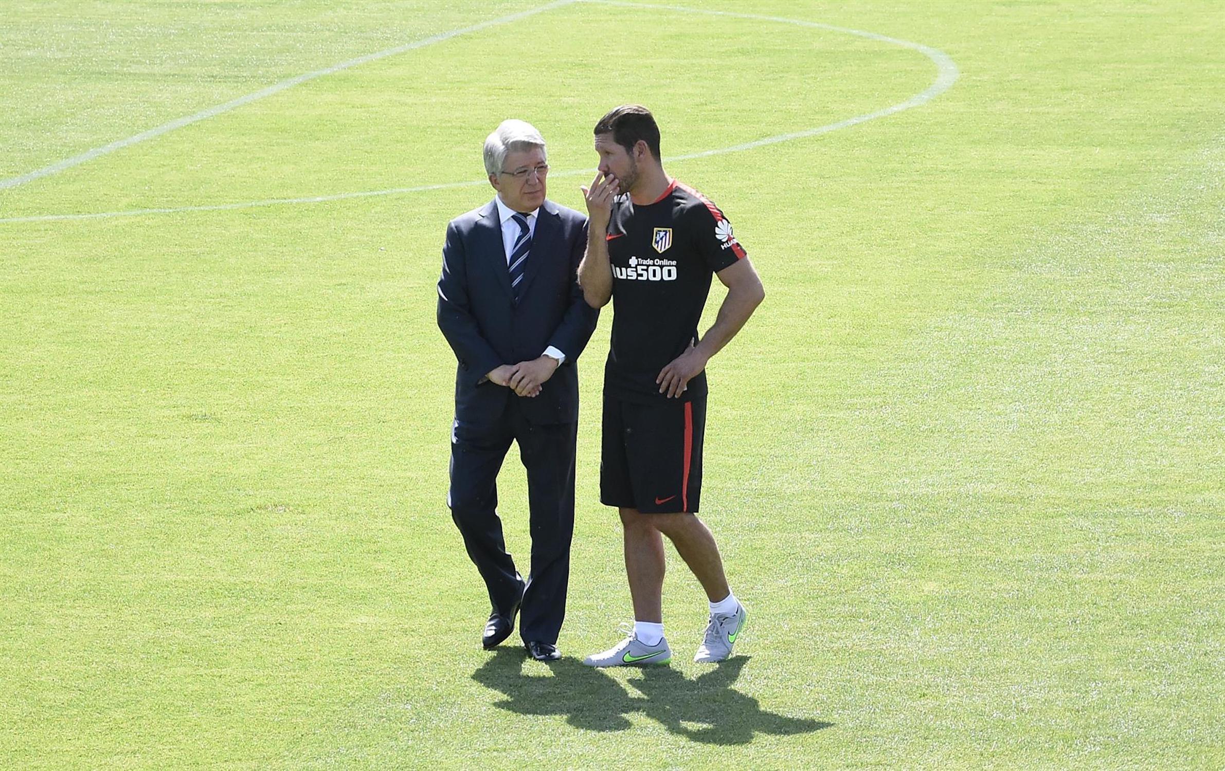 Cerezo i Simeone, durant un entrenament de l'Atlètic de Madrid | Europa Press