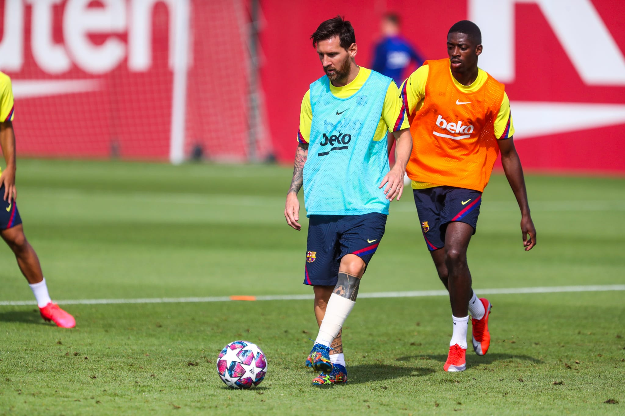 Messi i Dembélé, durant un entrenament del Barça | FC Barcelona