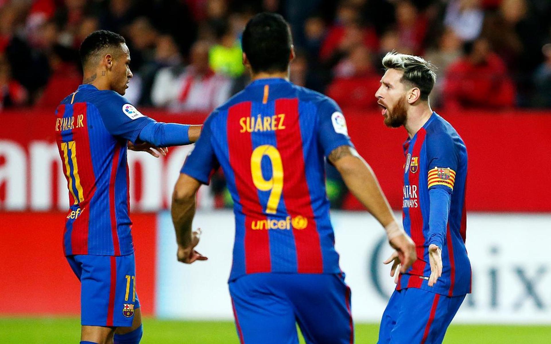 Messi, Neymar i Suárez, durant un partit   FC Barcelona