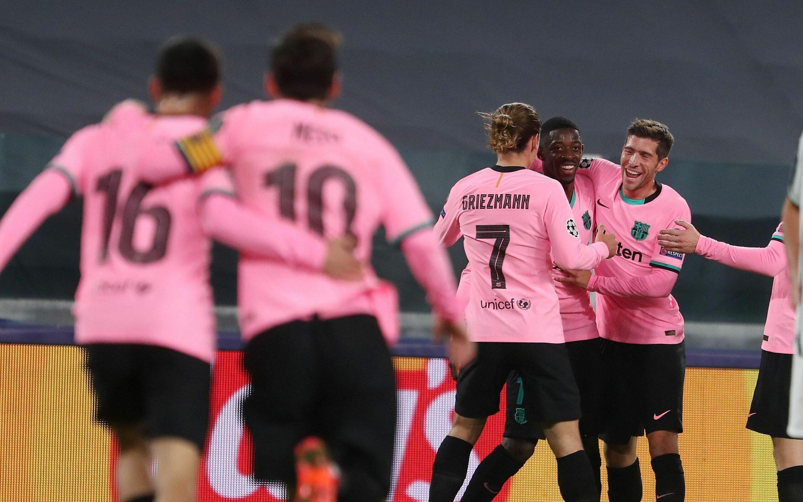 Els jugadors del Barça celebren un dels gols contra la Juventus |FC Barcelona