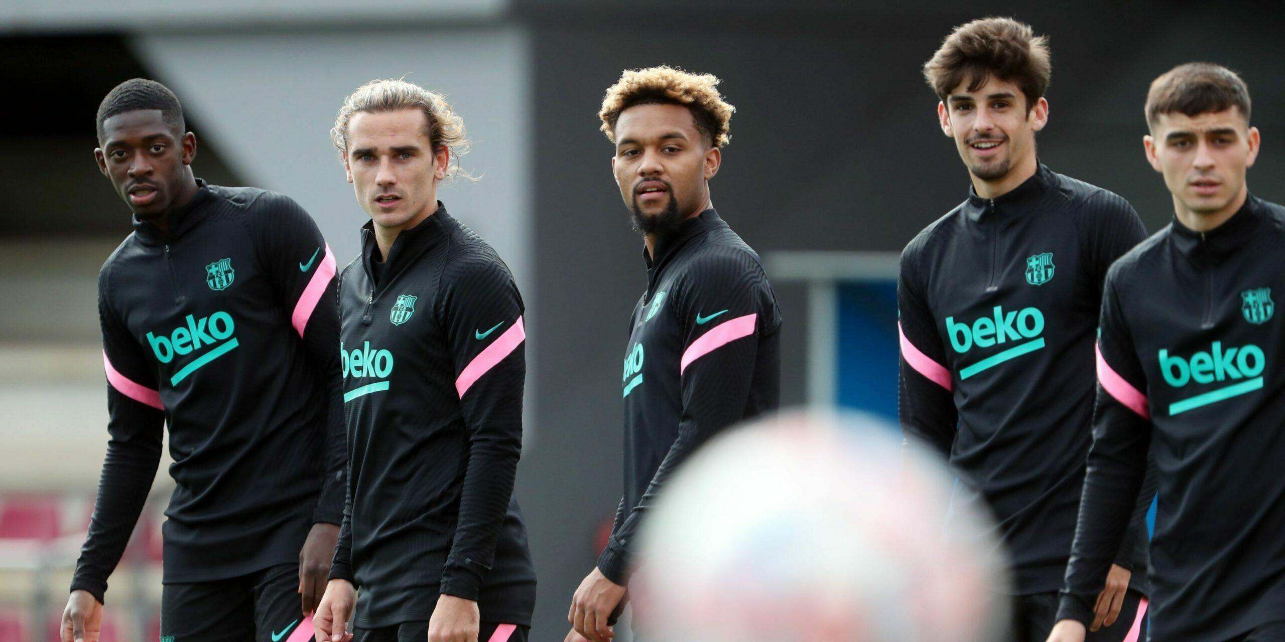 Dembélé, Griezmann, Konrad, Trincao i Pedri, durant un entrenament | FC Barcelona