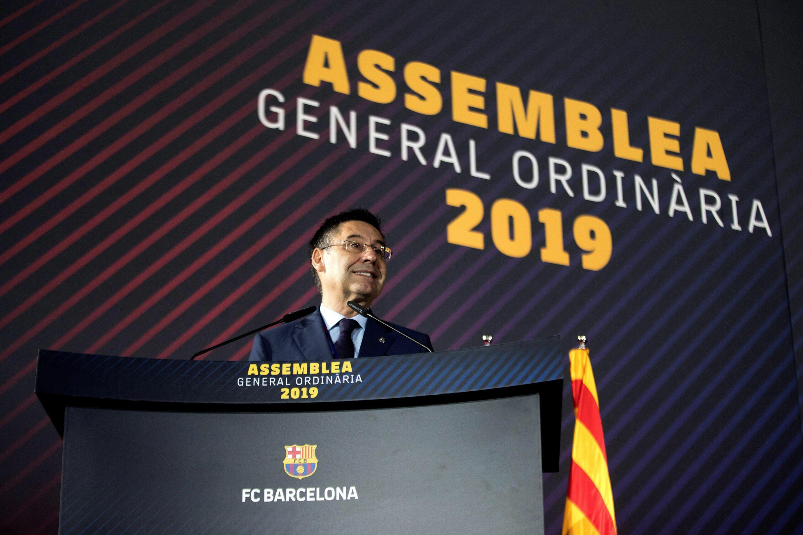 Bartomeu, durant l'Assemblea de Socis Compromissaris del 2019 | EFE