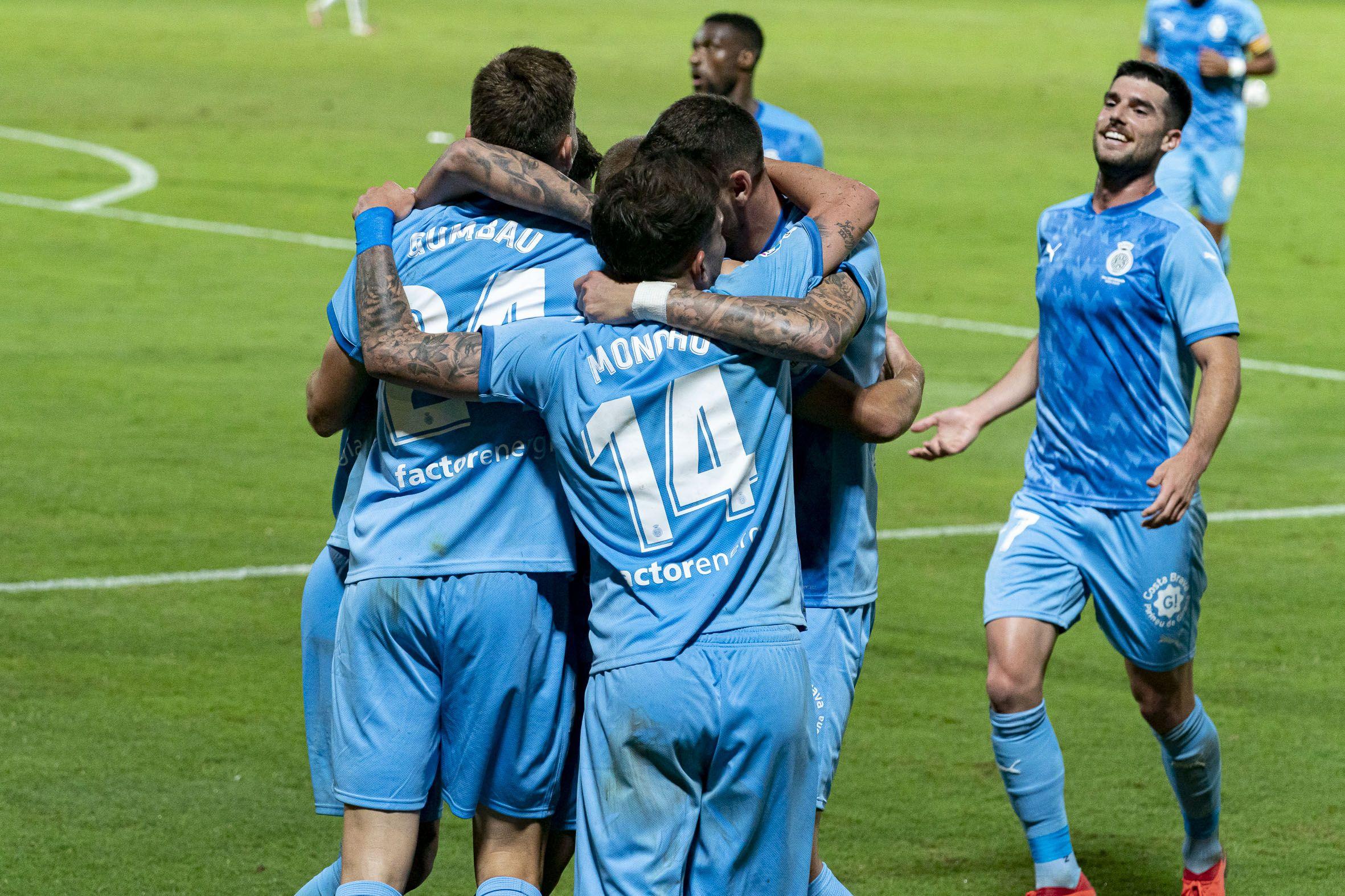 Els jugadors del Girona celebren el gol de Franquesa. | LaLiga