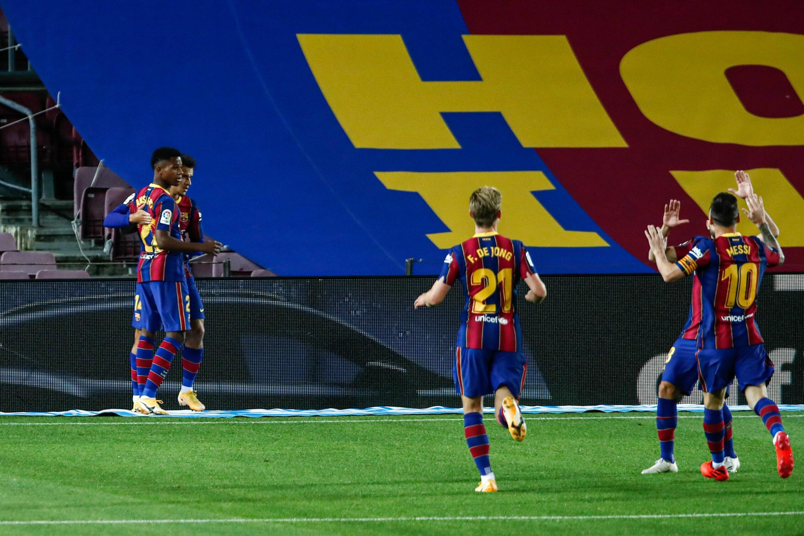 Els jugadors del Barça celebren un gol al Camp Nou | Europa Press