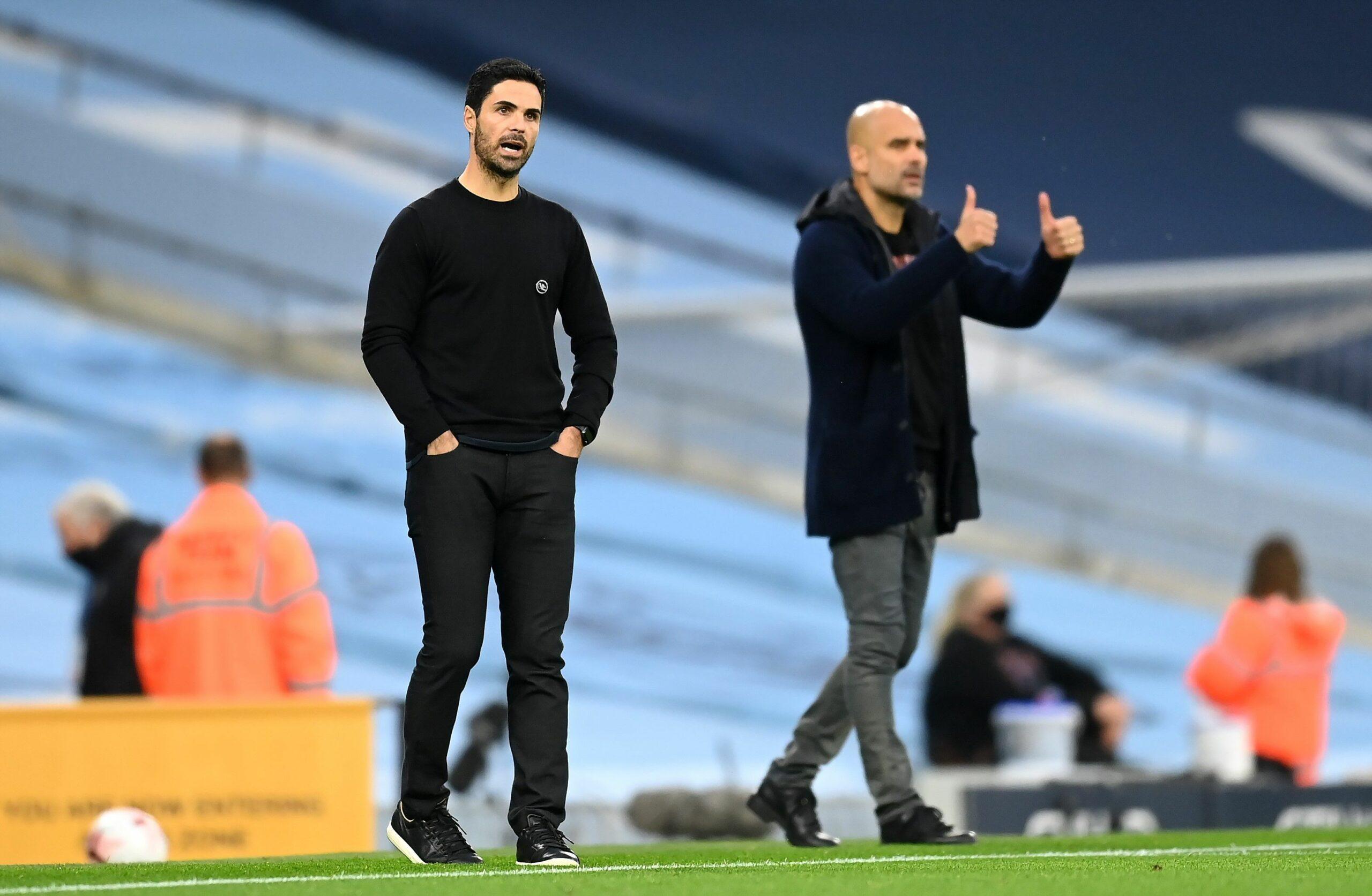 Guardiola i Arteta, durant el Manchester City-Arsenal | Europa Press