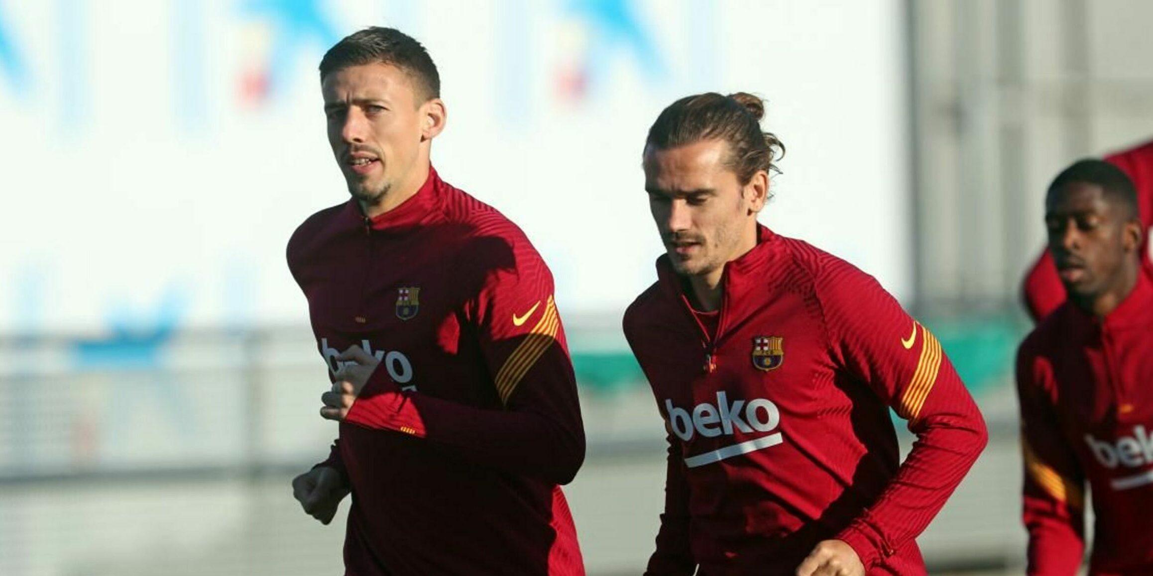 Lenglet i Griezmann, durant un entrenament | FC Barcelona