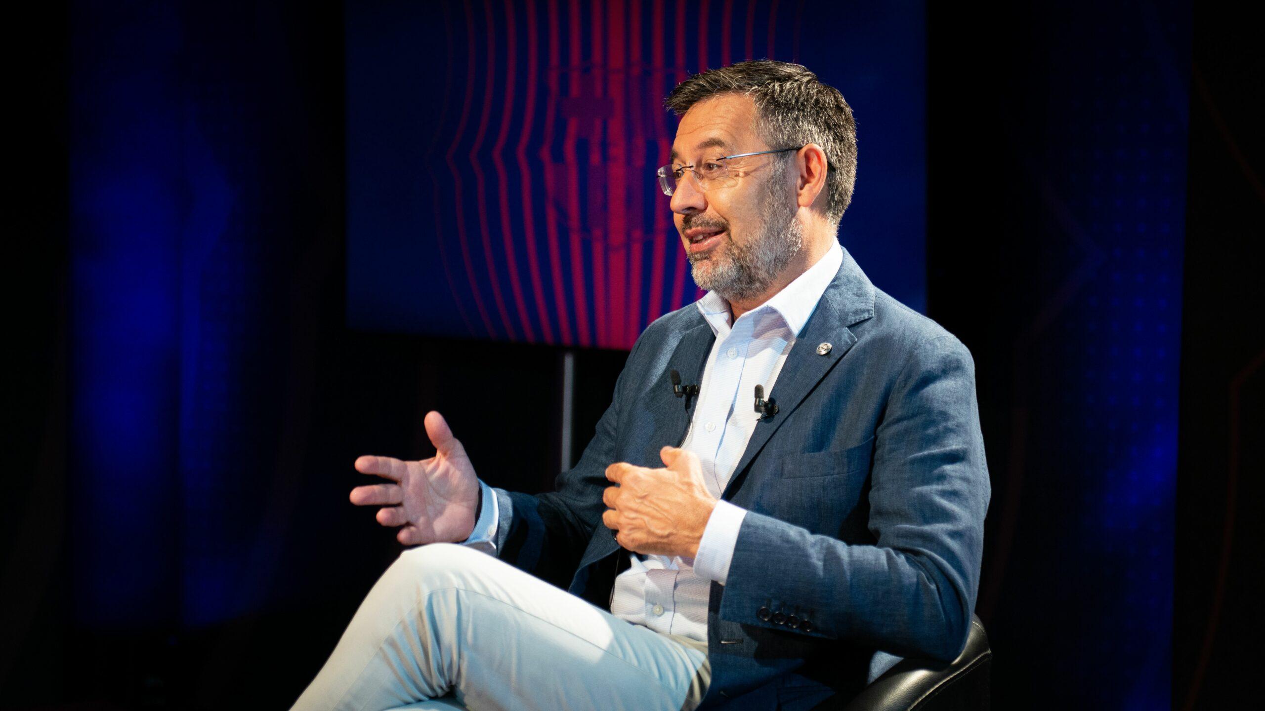 Josep Maria Bartomeu, durant l'entrevista amb 'BarçaTV' | FC Barcelona