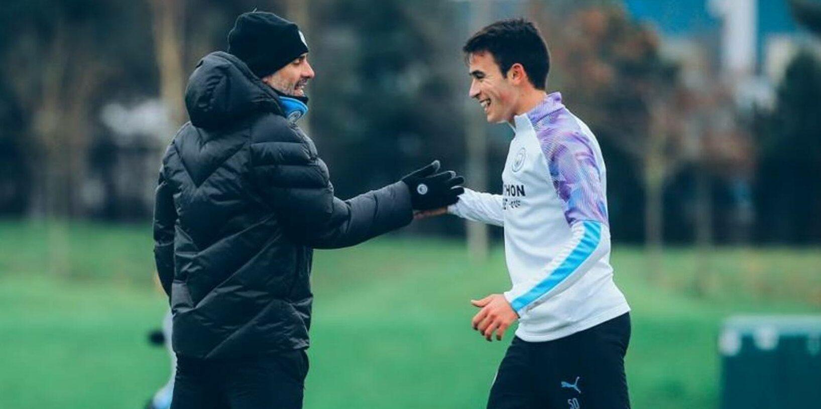 Guardiola i Eric García, durant un entrenament | Manchester City FC