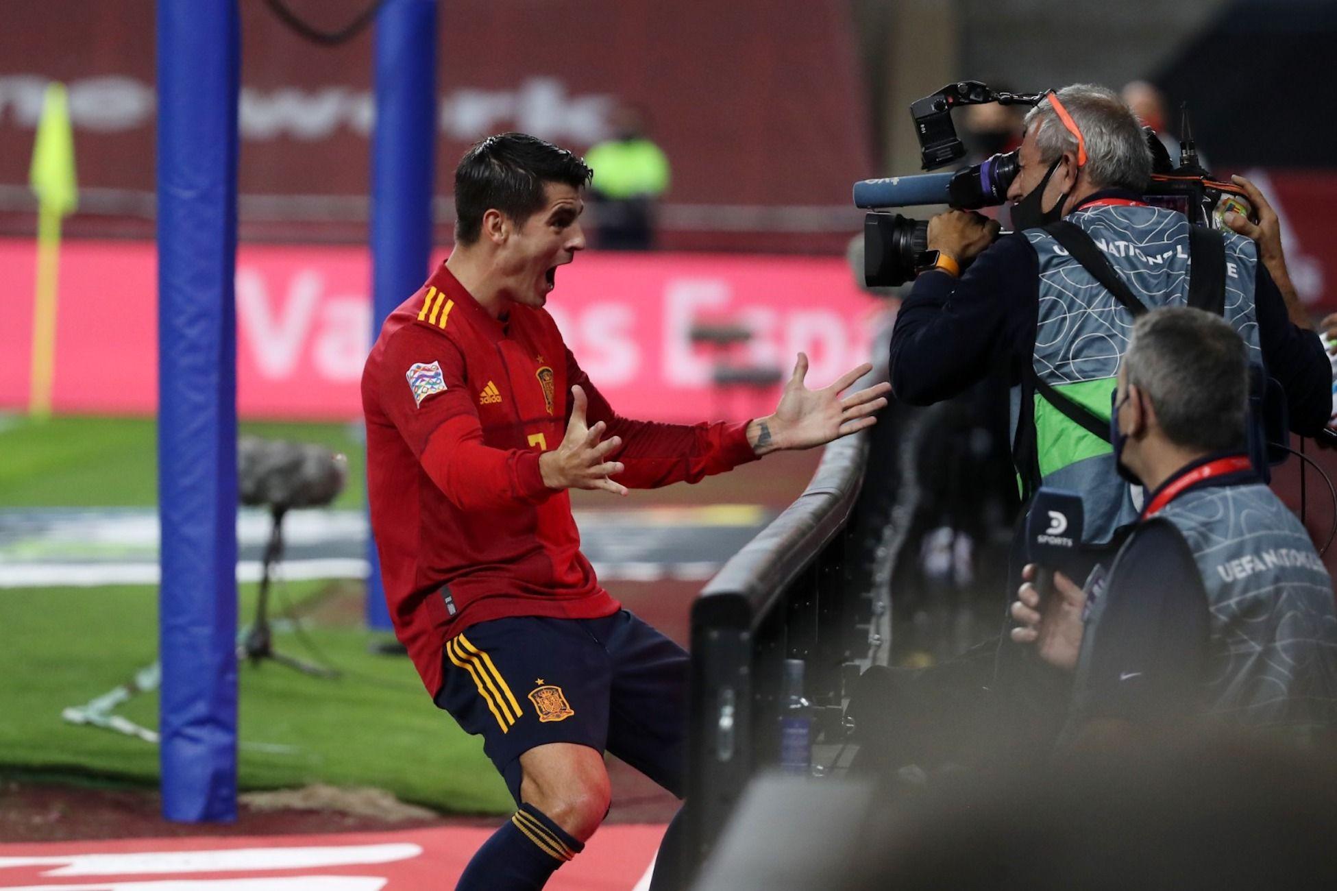 Álvaro Morata celebra el seu gol contra Alemanya | @sefutbol
