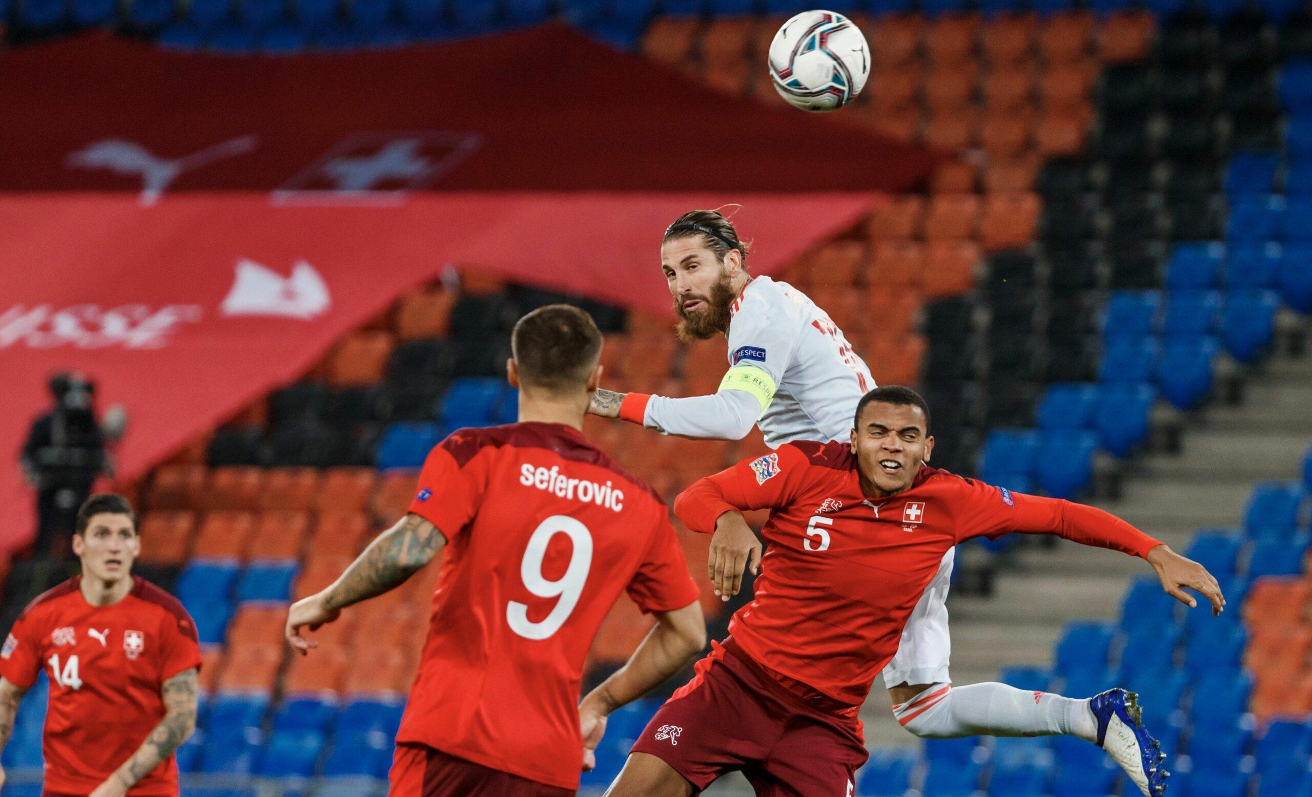 Sergio Ramos, en el partit contra Suïssa | @SeFutbol