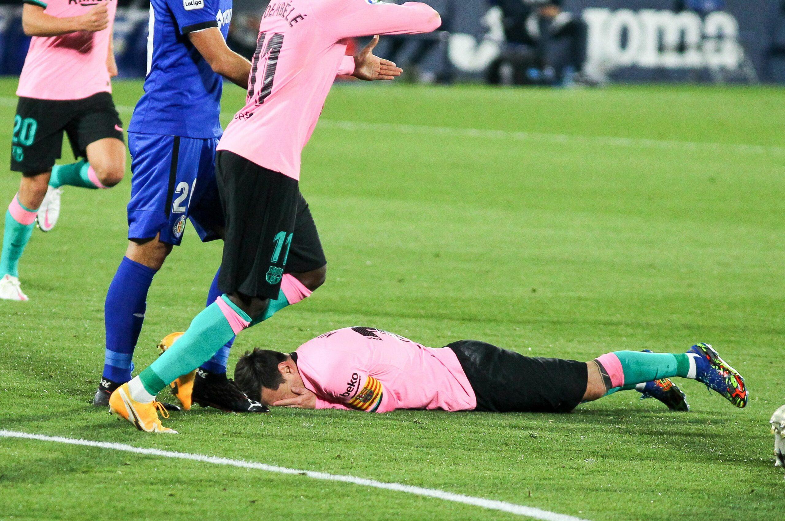 Leo Messi es lamenta durant el partit contra el Getafe | Europa Press