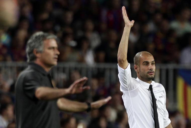 Josep Guardiola i José Mourinho, durant l'època del Barça i el Reial Madrid.