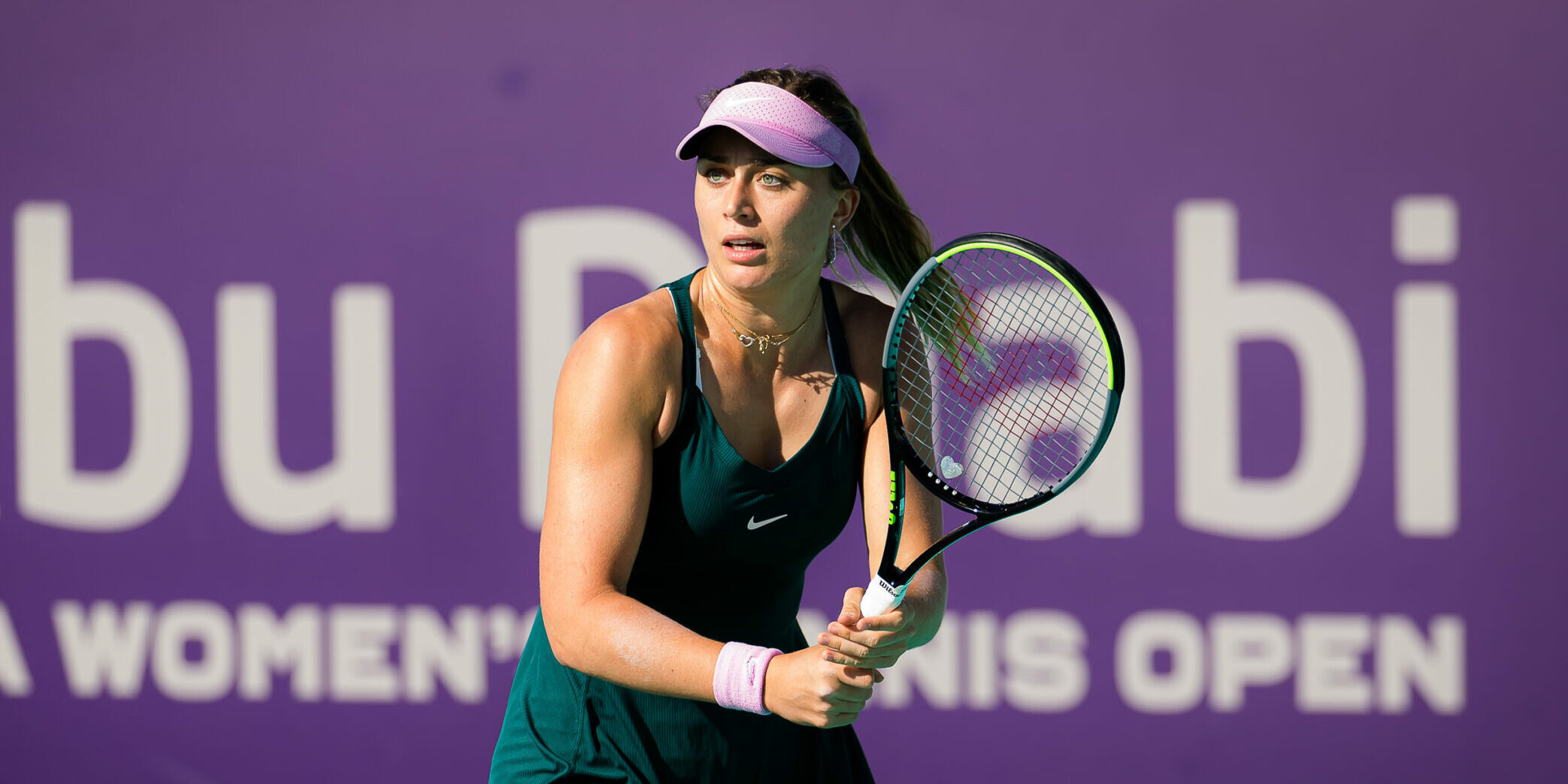 Paula Badosa of Spain in action during her third round match at the 2021 Abu Dhabi WTA Womens Tennis Open WTA 500 tournament against Veronika Kudermetova of Russia AFP7  / Europa Press 10/1/2021 ONLY FOR USE IN SPAIN
