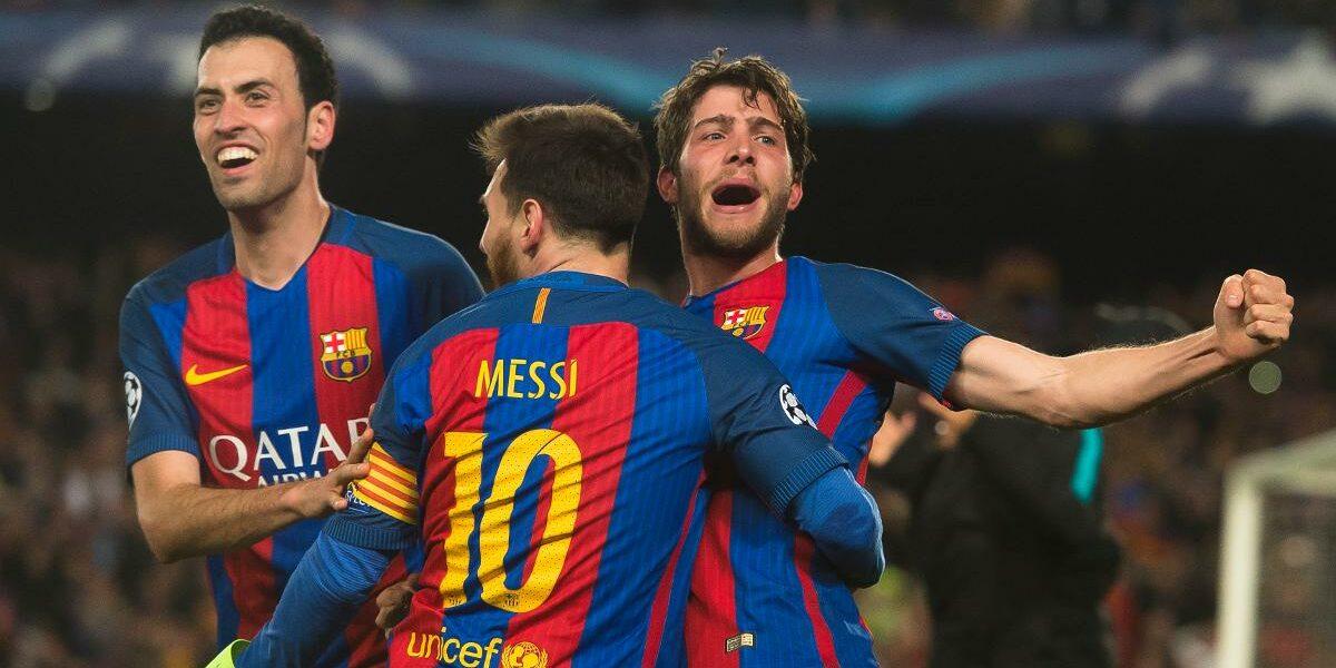Busquets, Messi i Roberto celebren la remuntada contra el PSG | FC Barcelona