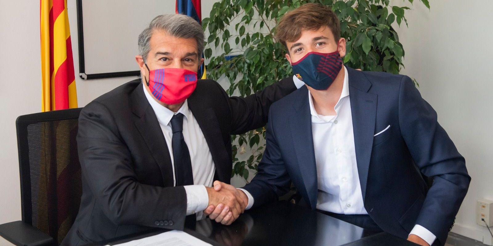 Joan Laporta, amb Nico González | FC Barcelona