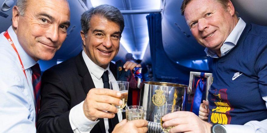 Joan Laporta, Ronald Koeman i Rafa Yuste | FC Barcelona