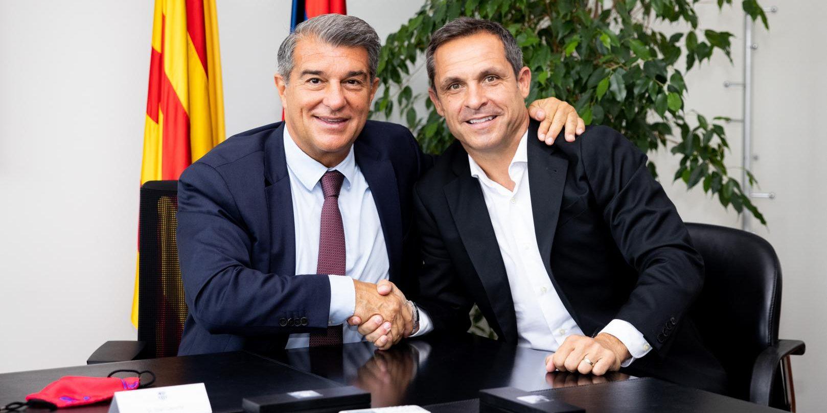 Sergi Barjuan, amb Joan Laporta | FC Barcelona