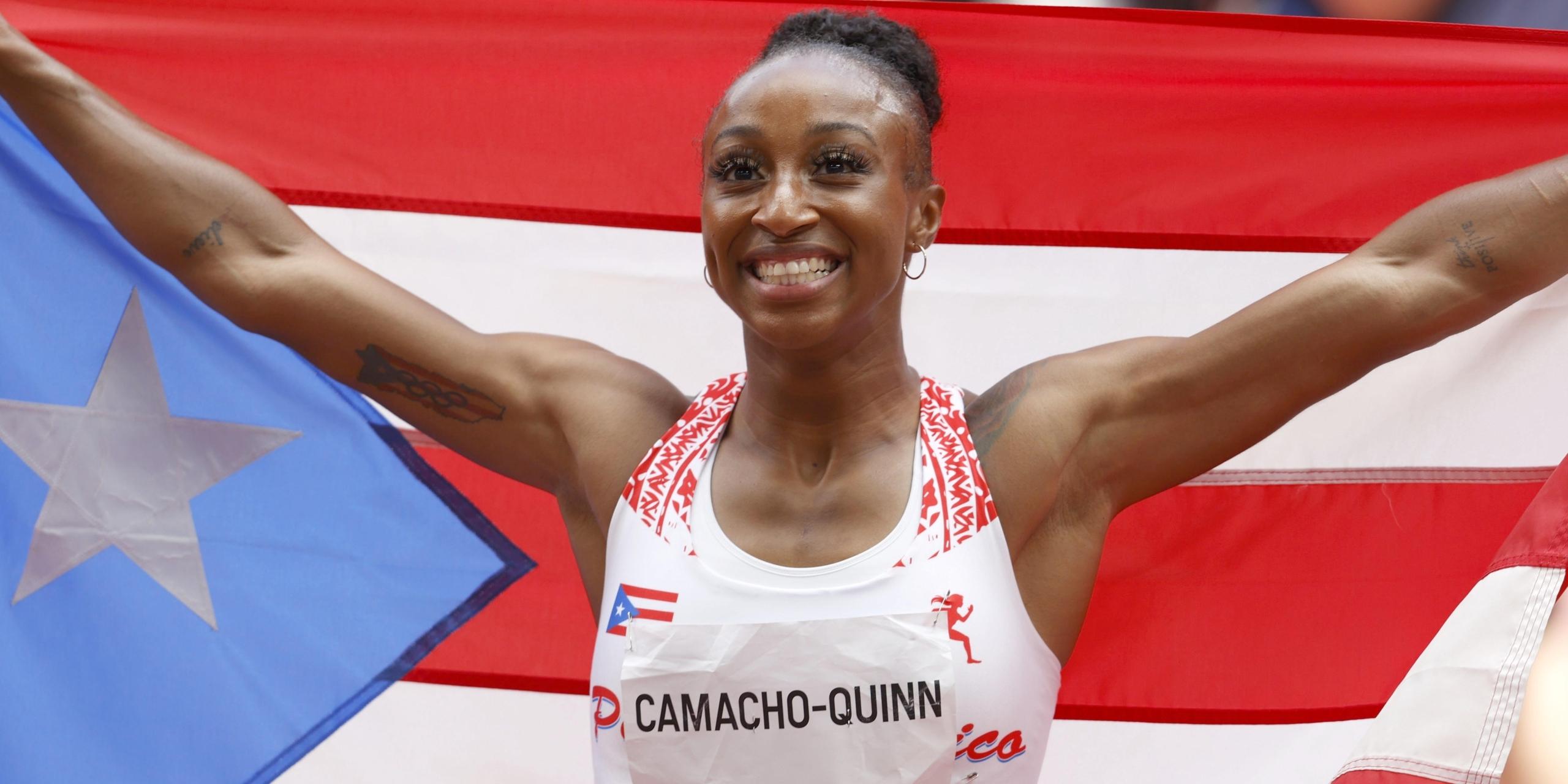 Jasmine Camacho-Quinn celebra el seu or als 100 metres tanques | Europa Press