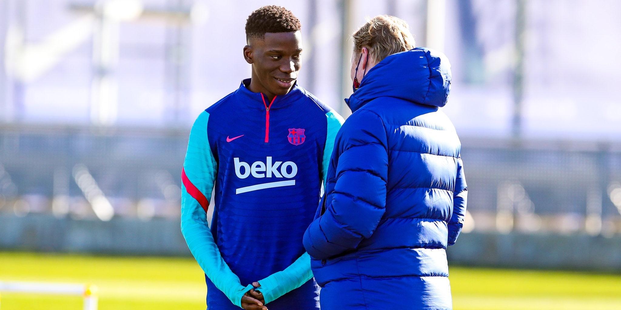 Ilaix Moriba, amb Ronald Koeman | FC Barcelona