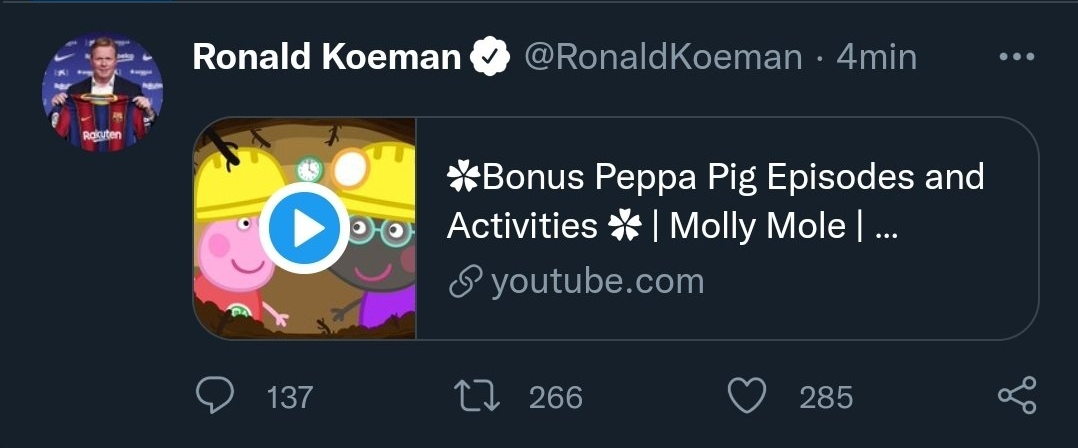 Ronald Koeman publica un episodi de Peppa Pig a Twitter