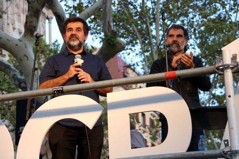 El president de l'ANC, Jordi Sánchez, i el president d'Òmnium Cultural, Jordi Cuixart