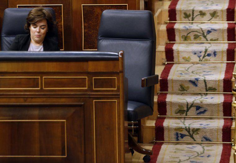 La cadira del president del govern espanyol, Mariano Rajoy, buida