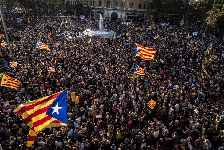 Una de les concentracions a favor de la Independència de Catalunya
