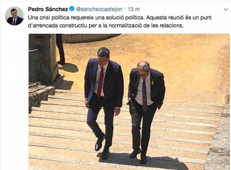La piulada en català de Sánchez