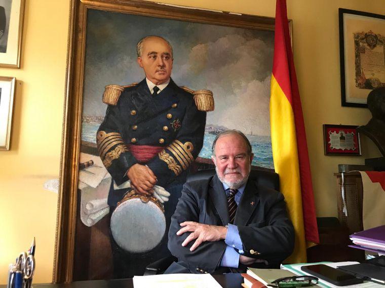 Juan Chicharro, president de la Fundación Nacional Francisco Franco, al seu despatx