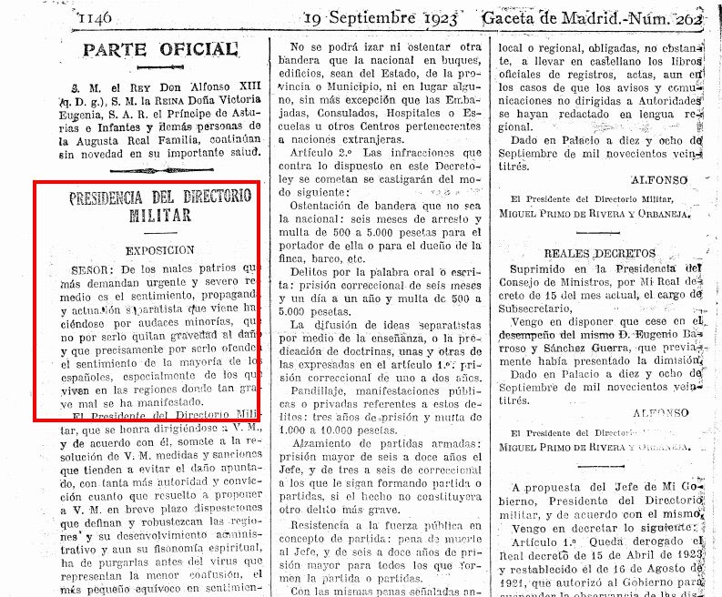 El decret contra l'independentisme aprovat per Miguel Primo de Rivera