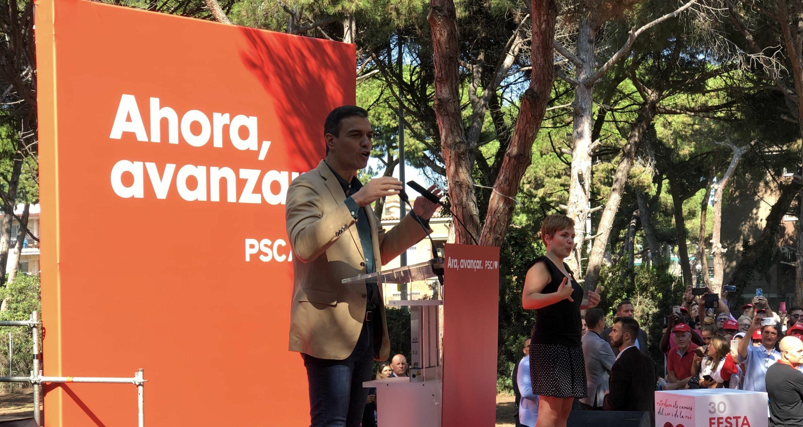 Pedro Sánchez, Durant el seu míting a la festa de la Rosa