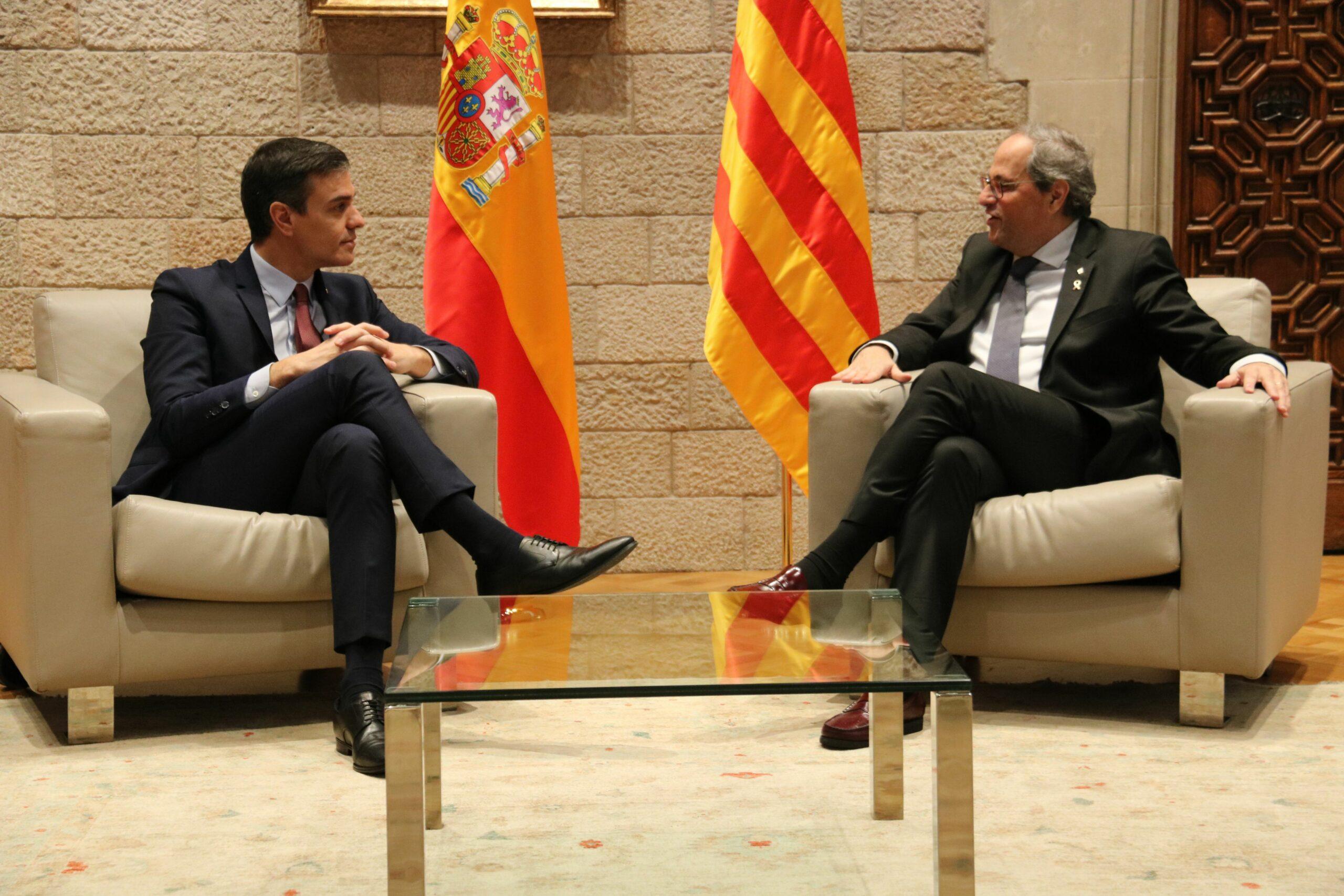 Els presidents Quim Torra i Pedro Sánchez, reunits al Palau de la Generalitat (ACN)