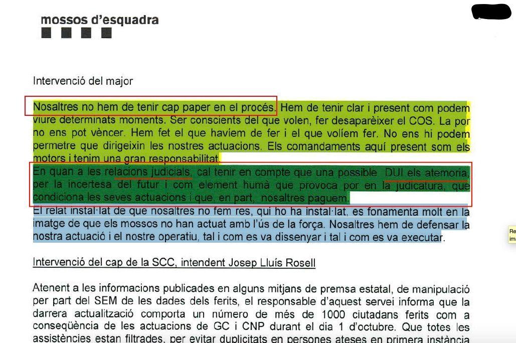 La part de l'acta del 13 d'octubre on es destaca que el Major advertia als comandaments no tenir res a veure amb el procés polític